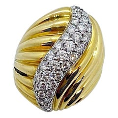 Charles Turi 18 Karat Yellow Gold 1.45 Carat Diamond Swirl Ring