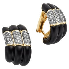 Charles Turi Black Onyx and Diamond 18 Karat Yellow Gold Earrings