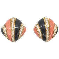 Charles Turi Coral Onyx and Diamond 18 Karat Yellow Gold Earrings