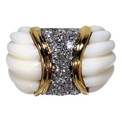 Charles Turi Fluted White Coral, Diamond and Yellow Gold Ring