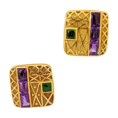 Charles Turi for Cellini 18 Karat Gold Earrings with Amethyst & Chrome Diopside