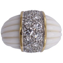 Charles Turi Gold Diamond and White Coral Ring