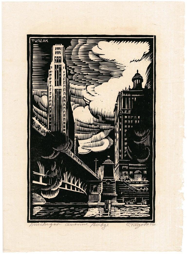 Michigan Avenue Bridge — American Modernism - Print by Charles Turzak