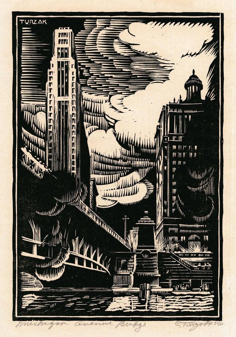 Charles Turzak Figurative Print - Michigan Avenue Bridge — American Modernism