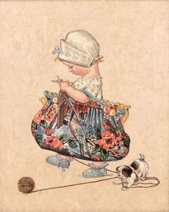 Child Sewing with Dog