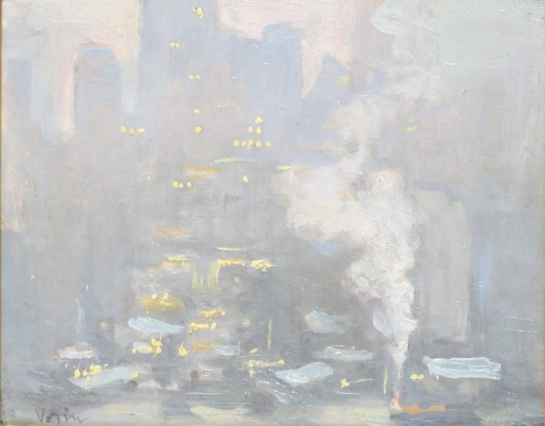City Lights Across the East River - Painting by Charles Vezin