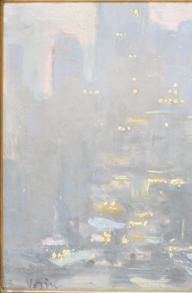 City Lights Across the East River - American Impressionist Painting by Charles Vezin