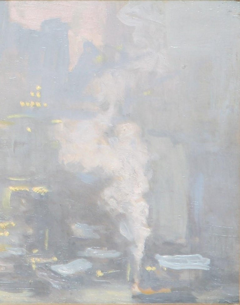 City Lights Across the East River - Beige Abstract Painting by Charles Vezin