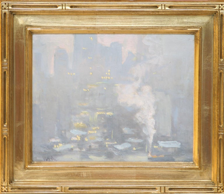 City Lights Across the East River.  c. 1933.  Oil on masonite.  8 x 10.  Signed 'Vezin', lower left.  Housed in an 11 5/8 x 13 5/8 reproduction period gold frame.  Known for his impressionistic views of New York's skyline and harbors, Charles Vezin