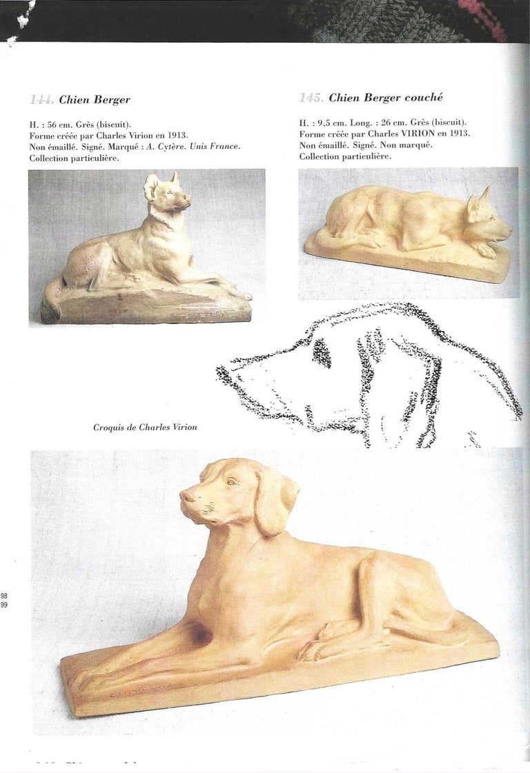 Hand-Carved Charles Virion 1920 Antique Gray Terracotta Sculpture of a German Shepherd Dog For Sale