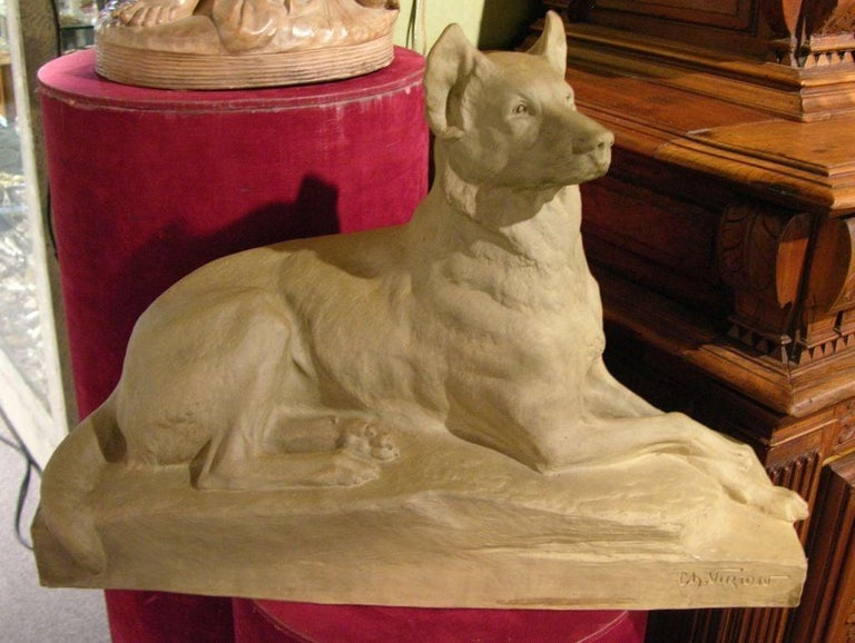 Charles Virion 1920 Antique Gray Terracotta Sculpture of a German Shepherd Dog For Sale 2