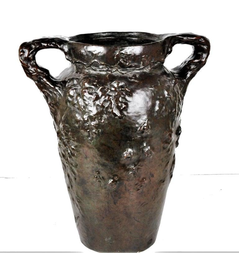 Early 20th Century Charles Vital-Cornu, French Art Nouveau Bronze Sculptural Floral Vase, 1900s For Sale