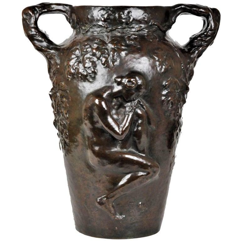 Charles Vital-Cornu, French Art Nouveau Bronze Sculptural Floral Vase, 1900s For Sale