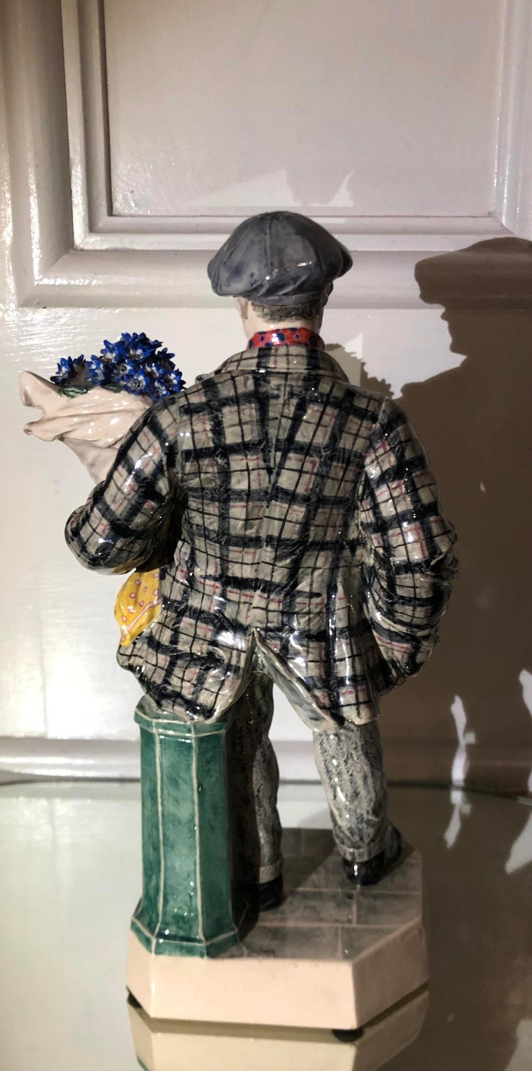 Early 20th Century Charles Vyse British Studio Art Pottery Figure of Cineraria Boy, circa 1925Art D For Sale