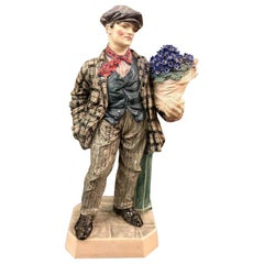 Charles Vyse British Studio Art Pottery Figure of Cineraria Boy, circa 1925Art D