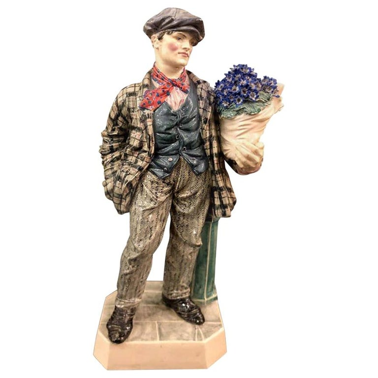 Charles Vyse British Studio Art Pottery Figure of Cineraria Boy, circa 1925Art D For Sale