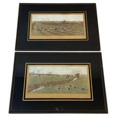 Charles Walter Simpson 19th Century Equestrian Fox Hunt Lithographs Framed