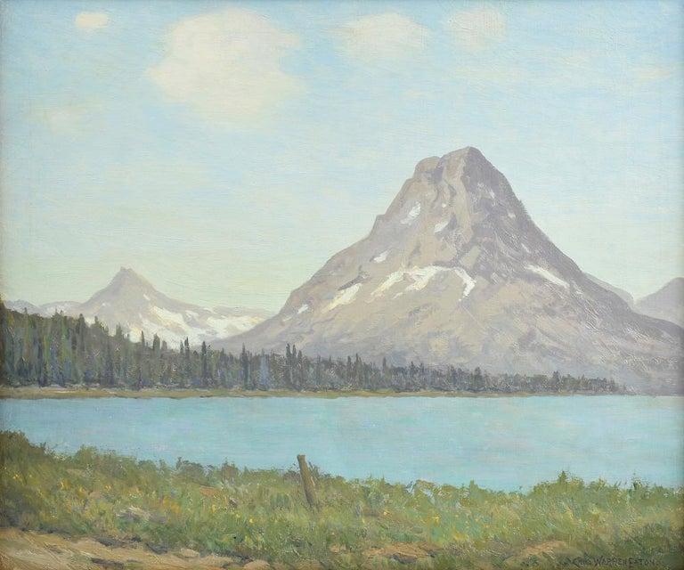 "Charles Warren Eaton Landscape Painting - ""Mount Rockwell, Glacier National Park, Montana,"" Mountain Lake Landscape View"