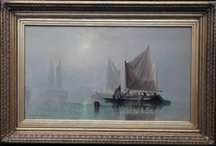 The Evening Glow - British Victorian art marine seascape oil painting sailboats