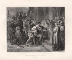 Wolsey at Leicester Abbey (Henry VIII), William Shakespeare play engraving