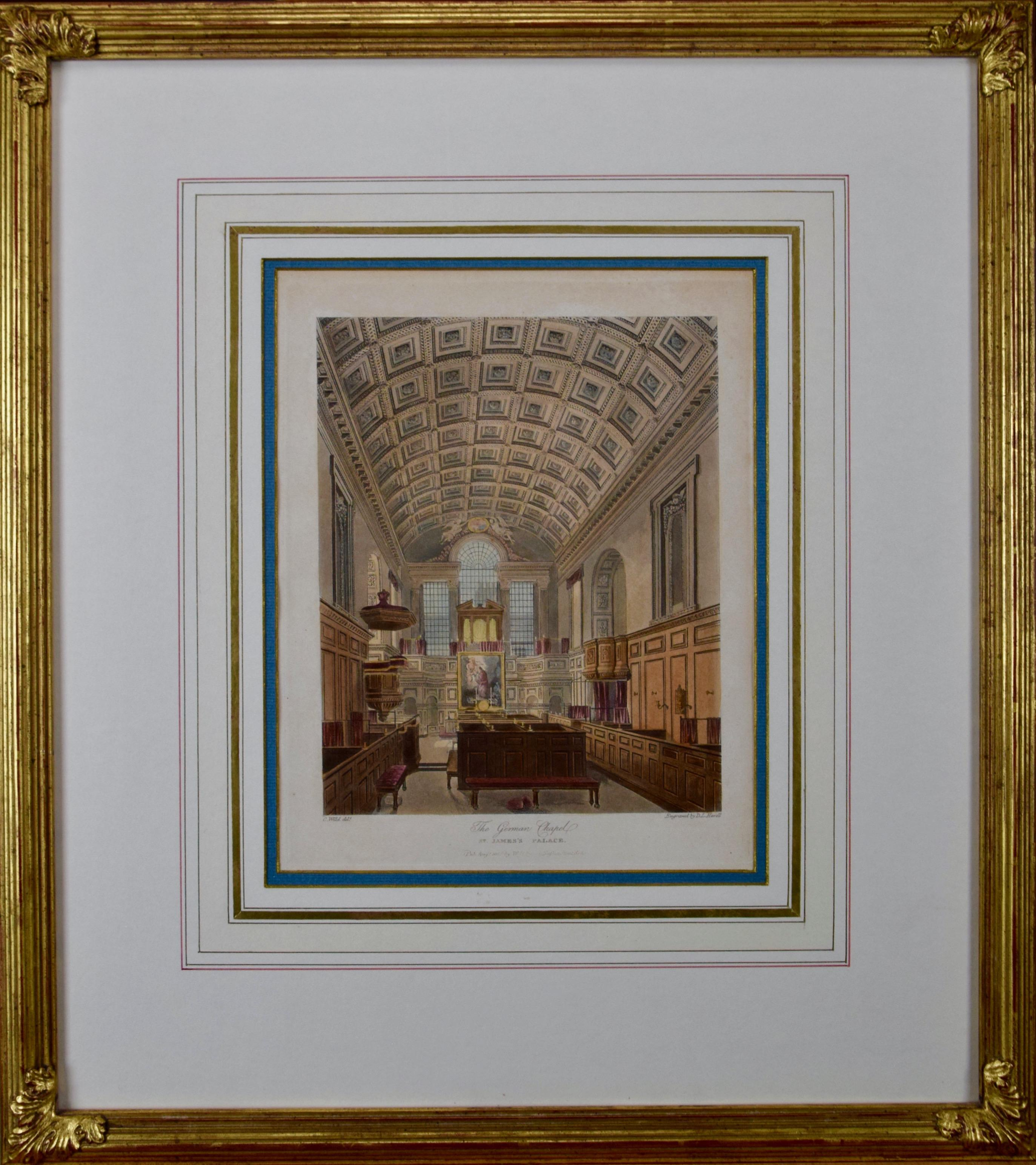 The German Chapel in St. James Palace, A 19th Century Hand Colored Engraving