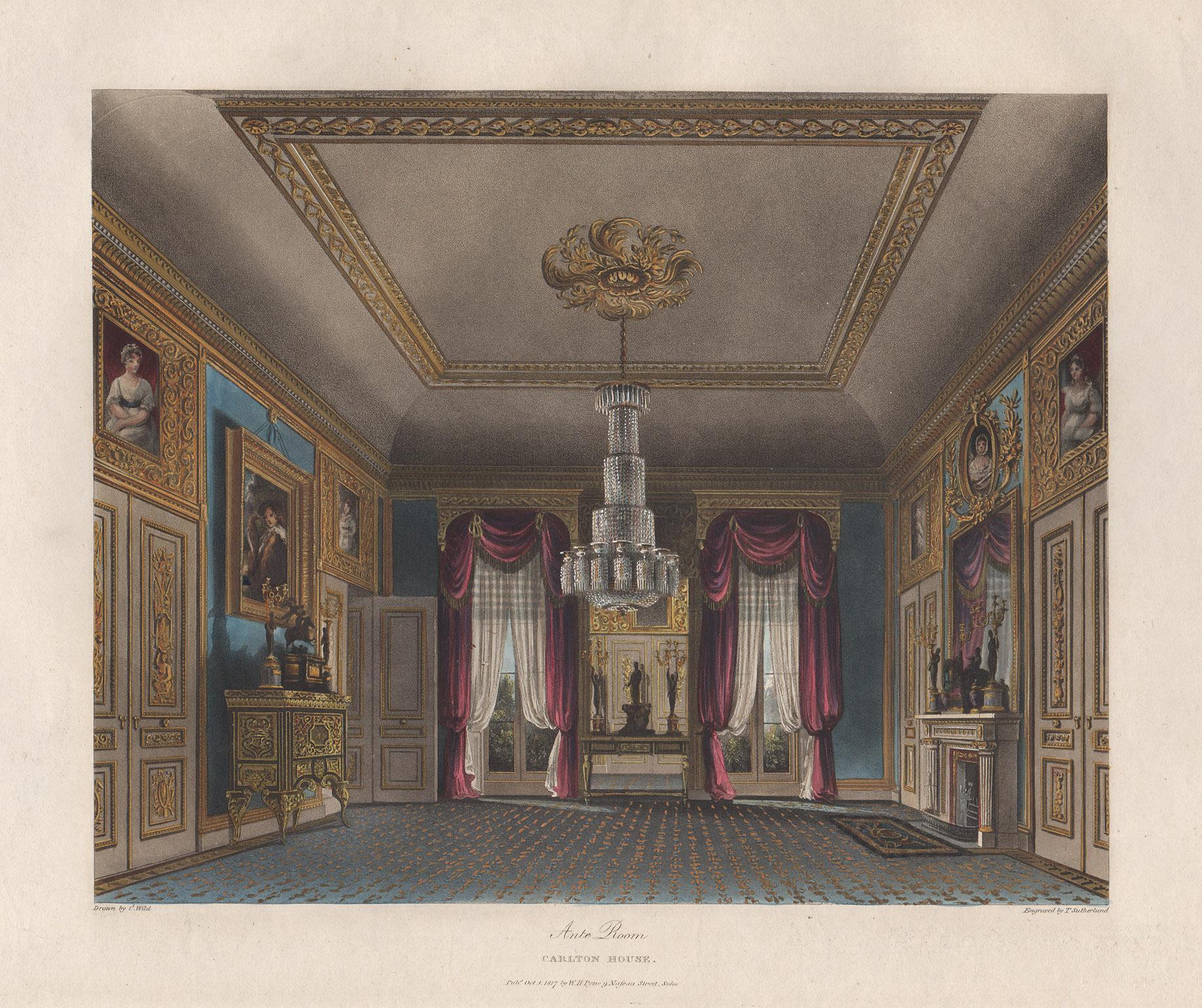 Ante Room Carlton House, Regency colour aquatint of Royal Residences, circa 1820