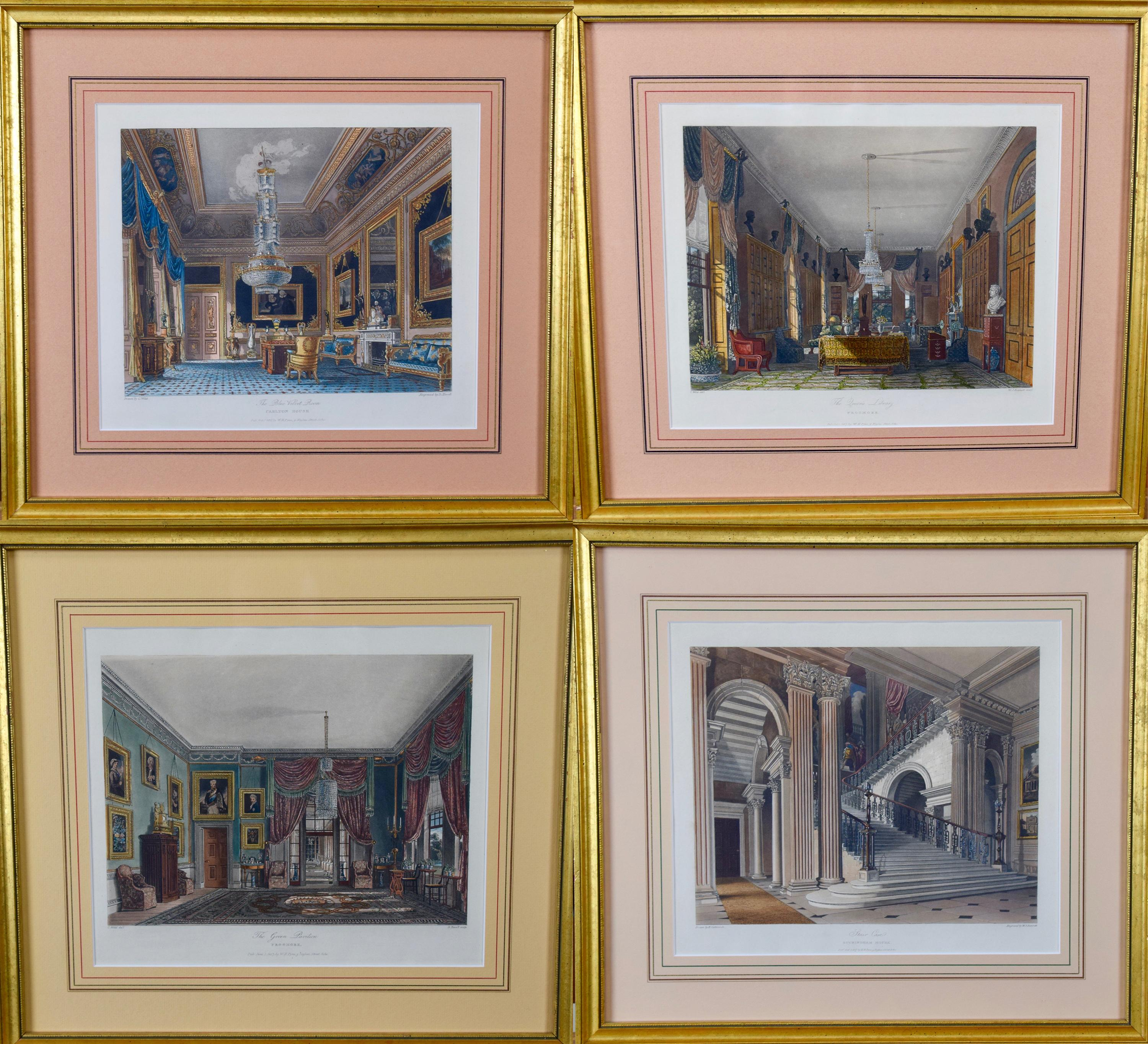 Four 19th Century Hand Colored Engravings Depicting English Royal Residences