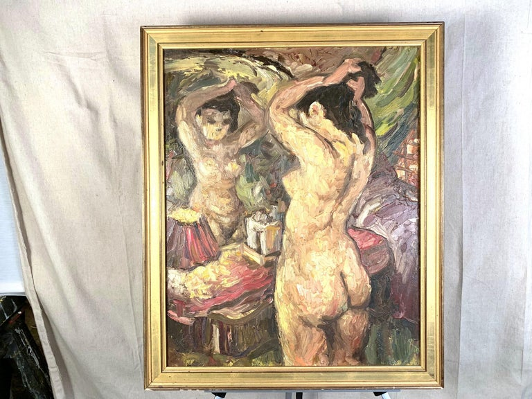 Oil on artist board of a nude at a mirror, by Charles Willette (1899-1979). Unsigned. Dimensions: Frame- 27.5
