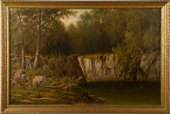 Antique Hudson River School Intimate Forest View Signed Framed Oil Painting