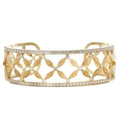 Charles Wolfe 18 Karat Diamond Hinged Cuff Bracelet