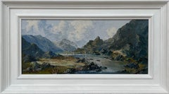 Impasto Oil Painting of River Mountain Scene in Wales by British Artist