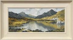 Impasto Oil Painting of Welsh Mountain Lake Scene by 20th Century British Artist