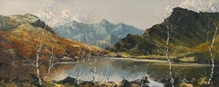 'Lakeside View' Painting of the welsh landscape. Trees, water and mountains