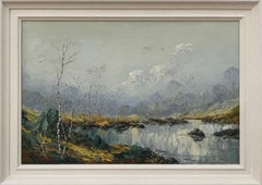 Oil Painting of River Bank with Silver Birch Trees and Misty Hills & Mountains