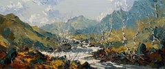 'The Glaslyn near Nant Gwynant' Welsh Landscape painting of mountains & river