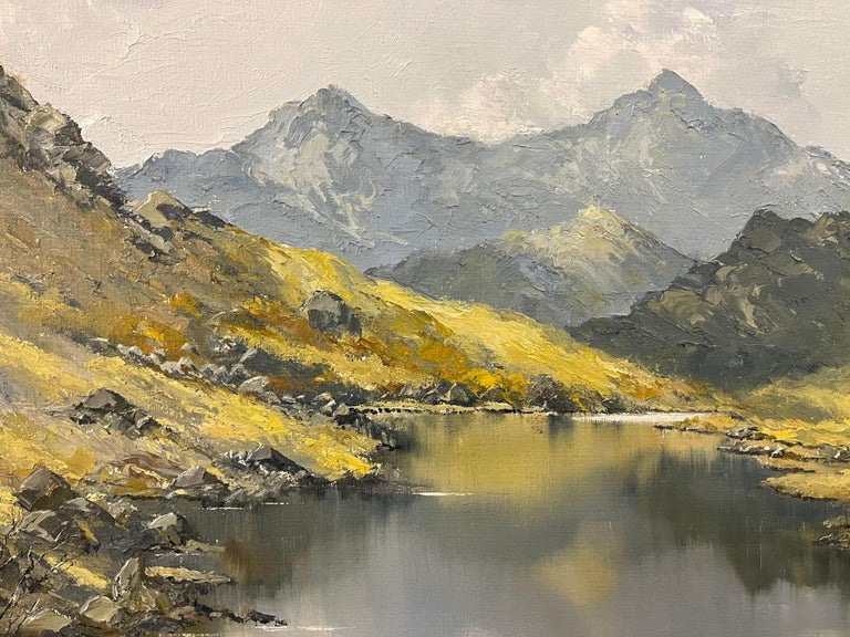 Welsh Landscape with Mountains & Lake Impasto Oil Painting by British Artist For Sale 7