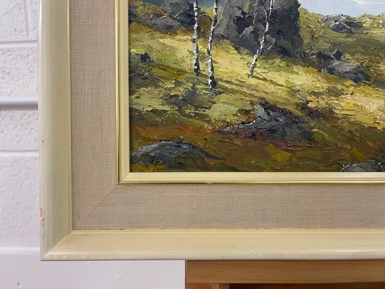 Welsh Landscape with Mountains & Lake Impasto Oil Painting by British Artist For Sale 8