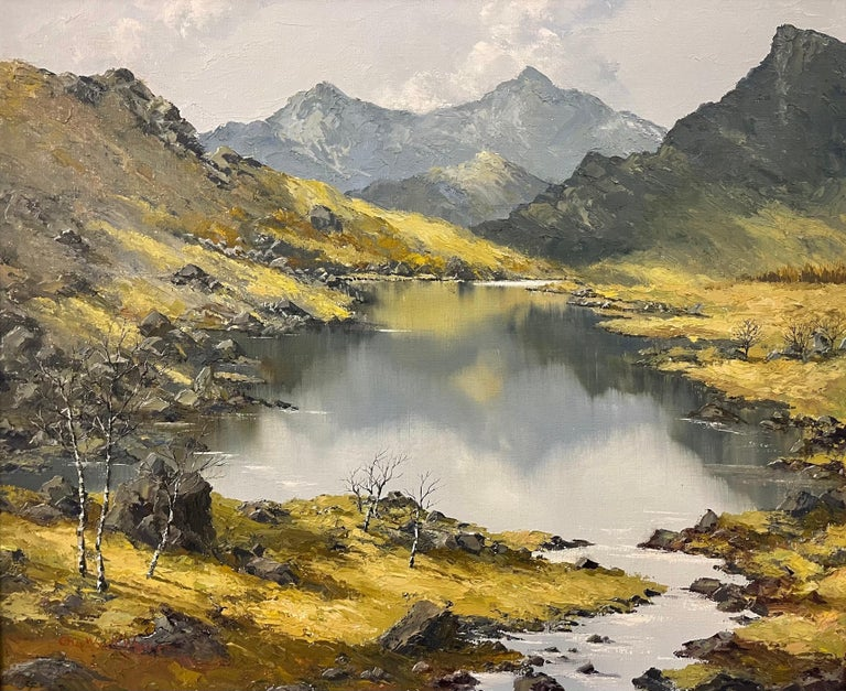 Welsh Landscape with Mountains & Lake Impasto Oil Painting by British Artist - Impressionist Mixed Media Art by Charles Wyatt Warren