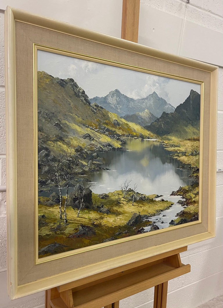 Welsh Landscape with Mountains & Lake Impasto Oil Painting by British Artist Charles Wyatt Warren (1908-1993)  Art measures 24 x 20 inches Frame measures 30 x 26 inches  Charles Wyatt Warren (1908-1993) was a self-taught painter and an enthusiastic