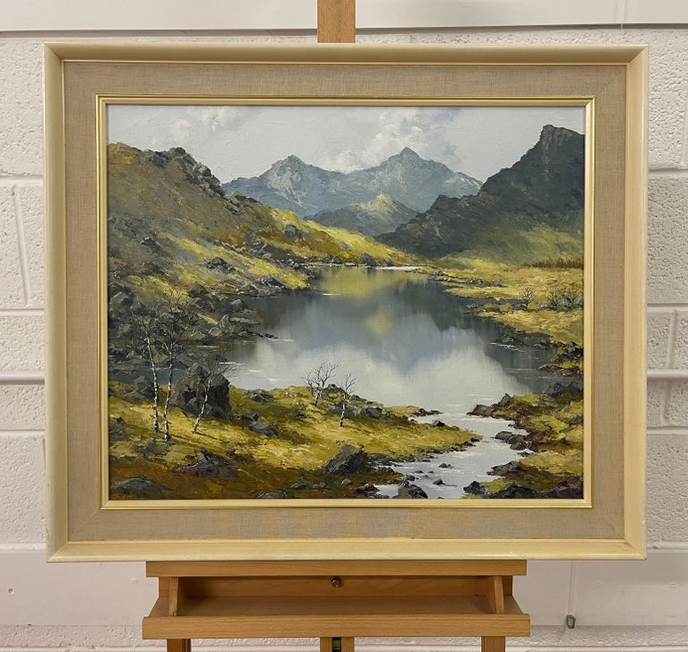 Welsh Landscape with Mountains & Lake Impasto Oil Painting by British Artist For Sale 1