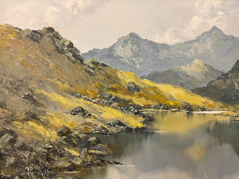 Welsh Landscape with Mountains & Lake Impasto Oil Painting by British Artist For Sale 3