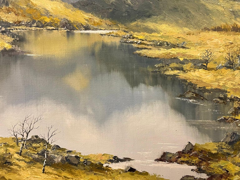 Welsh Landscape with Mountains & Lake Impasto Oil Painting by British Artist For Sale 4