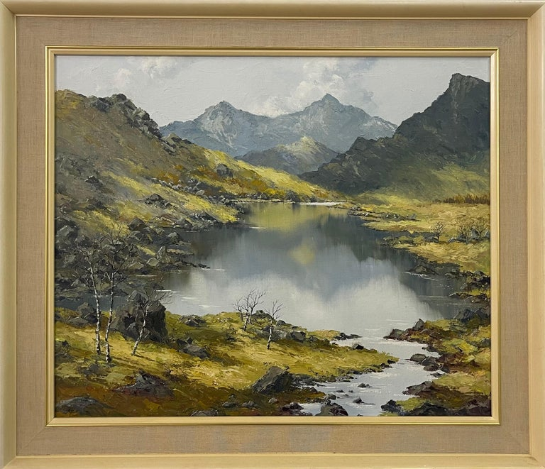 Welsh Landscape with Mountains & Lake Impasto Oil Painting by British Artist - Mixed Media Art by Charles Wyatt Warren
