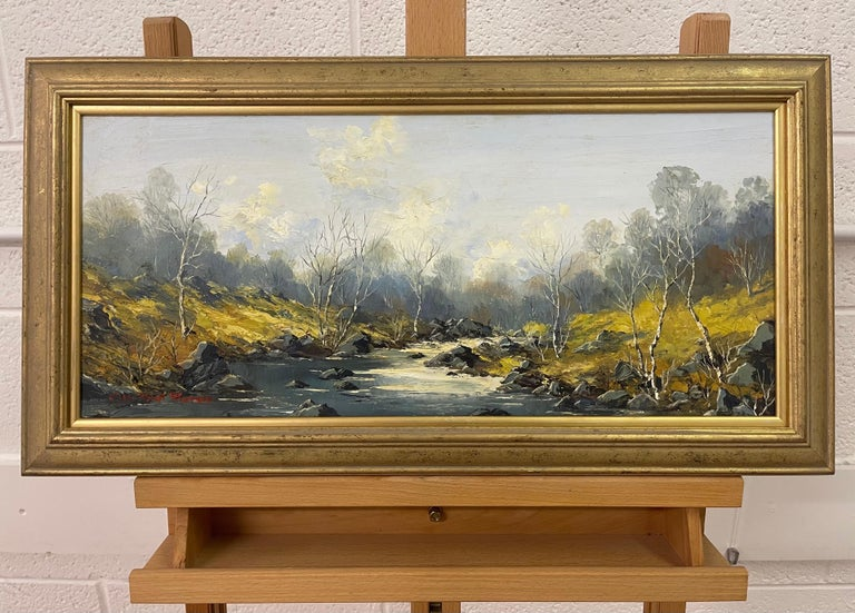Welsh River Landscape with Birch Trees Oil Painting by British Impasto Artist For Sale 7