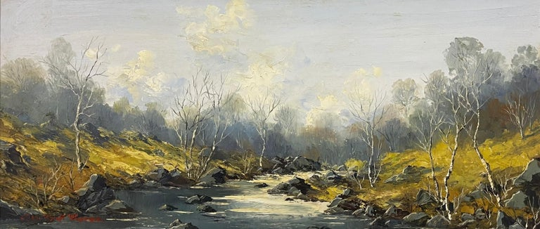 Welsh River Landscape with Birch Trees Oil Painting by British Impasto Artist - Brown Figurative Painting by Charles Wyatt Warren
