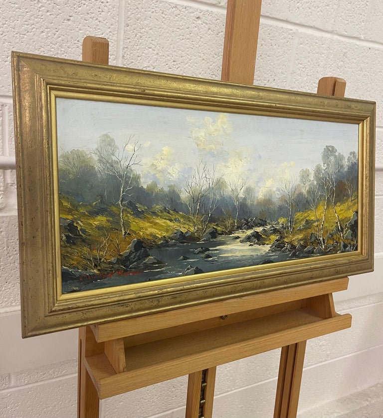Welsh River Landscape with Birch Trees Oil Painting by British Impasto Artist Charles Wyatt Warren (1908-1993)  Art measures 21 x 9 inches Frame measures 25 x 13 inches  Charles Wyatt Warren (1908-1993) was a self-taught painter and an enthusiastic