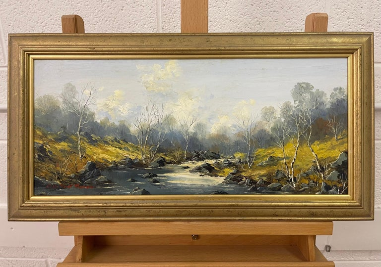 Welsh River Landscape with Birch Trees Oil Painting by British Impasto Artist For Sale 1