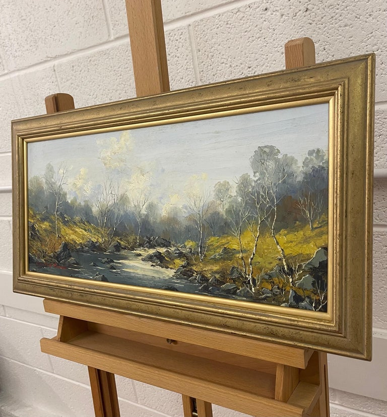 Welsh River Landscape with Birch Trees Oil Painting by British Impasto Artist For Sale 2