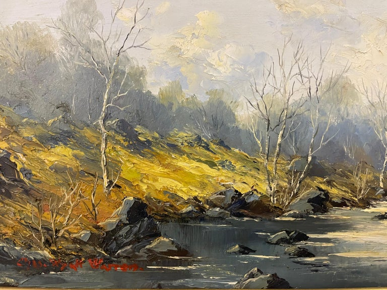 Welsh River Landscape with Birch Trees Oil Painting by British Impasto Artist For Sale 3