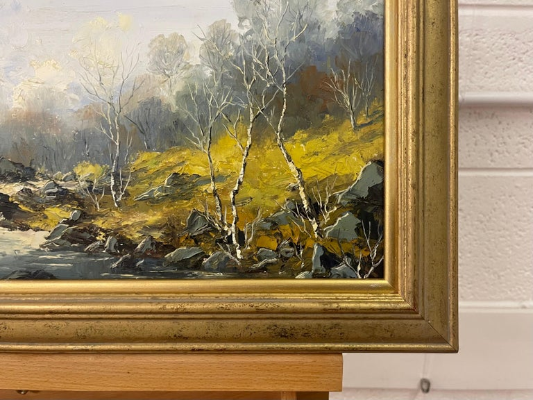 Welsh River Landscape with Birch Trees Oil Painting by British Impasto Artist For Sale 5